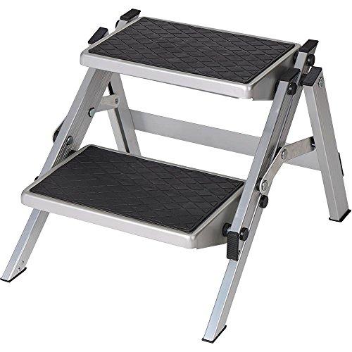 Preisvergleich Produktbild Berger Doppeltrittstufe Aluminium klappbar, silber/schwarz, bis 150 kg Belastbar, Klapptritt, Trittstufe