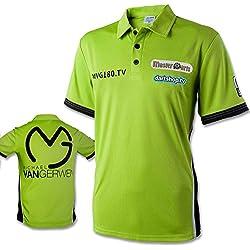 Polo camisa-Dardos de manga larga-Camiseta de competición MVG-Michael van Gerwen-Vers.tamaños verde Talla:xx-small