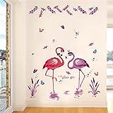 ALLDOLWEGE Zimmer Schlafzimmer Wall Sticker Kunst Kindergarten Klasse Kinder sind selbstklebende Wand Deko Elch Rentier Rehe, Hirsche, Kleine romantische Flamingo
