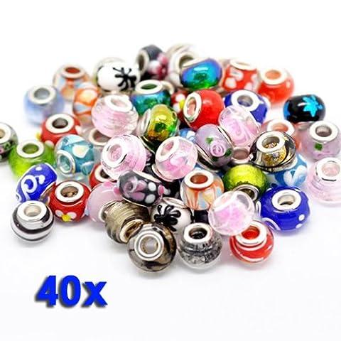 BeautyLife 40 X Bunt Vermischen Glas Beads Kristall Perlen Linayo®, Murano Glass (Handcrafted Perle)