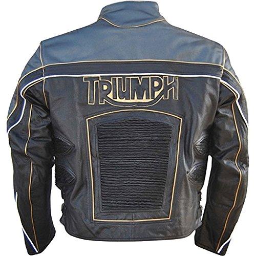 classyak ist, wird Triumph Herren Echt Leder Motorrad Jacke Cow Black