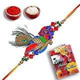 shree sai Beautiful Multicolor Fabric Peacock Designer N Original Peacock Feather Rakhi For Men