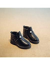 Niño Invierno Cálido Algodón Botas de Diamantes de Imitación Princesa Zapatos Botas de Nieve en Los Niños Grandes de Las Niñas Zapatos Más Botas de Terciopelo,Negro,27