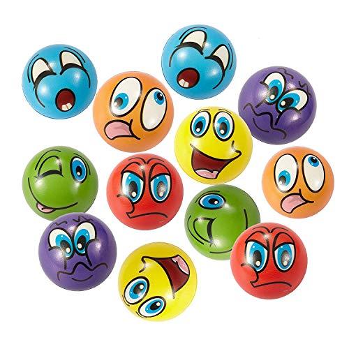 Stress Bälle 12 PCS Anti Stressball 6.3cm Emoji squeezy Bälle Smilies squishy Ball (6 Farben) - Emojis Stress-bälle