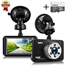 """Senwow Dash Cam Telecamera per Auto con Carta di 32GB Full HD 1080P 3"""" LCD Grandangolare di 140 Gradi Videocamera DVR G-Sensor, Registrazione in Loop, Rilevatore di Movimento, Visione Notturna, WDR"""