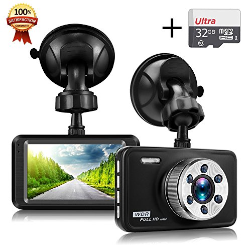 """Senwow Dash Cam Car Camera (With 32GB Card) 1080P Full HD 3"""" LCD Auto Video Recorder 140° Wide Angle Lens Metal Shelled Dashboard DVR Built-in G-sensor, Loop Recording, Night Vision, Parking Monitor, Motion Detection, WDR (Reader License Plate)"""