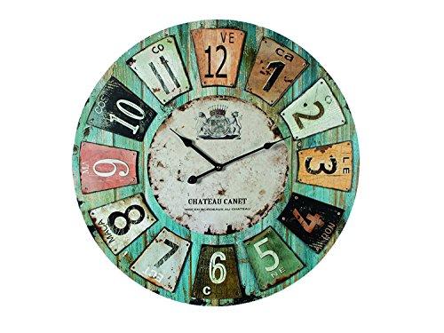 "Holz Wanduhr \""Chateau\"" Ø 60 cm, grosse Uhr in Vintage-Look"