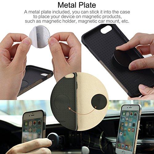 Rock Case For IPhone 7 Plus 5.5 Pouces Case, Bois Naturel Drop Proof Flexible TPU hybride Shock Absorbent Slim Housse en bois souple avec magnétique pour IPhone 7 Plus ( Color : SandalWood ) Blackwood