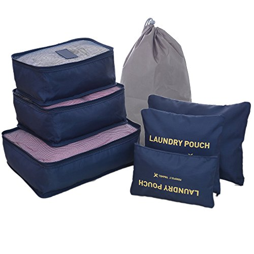7 Sets Travel Organisers Packing Cubes Laundry Bag Luggage Compression Pouches (7 Sets, Darkblue)