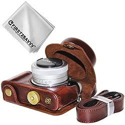 First2savvv PU cuir étui housse appareil photo numérique pour Panasonic Lumix DC-GF9.GF8 .GF7.GX850.GX800 avec Lens 12-32mm + Chiffon de nettoyage XJD-GF9-10