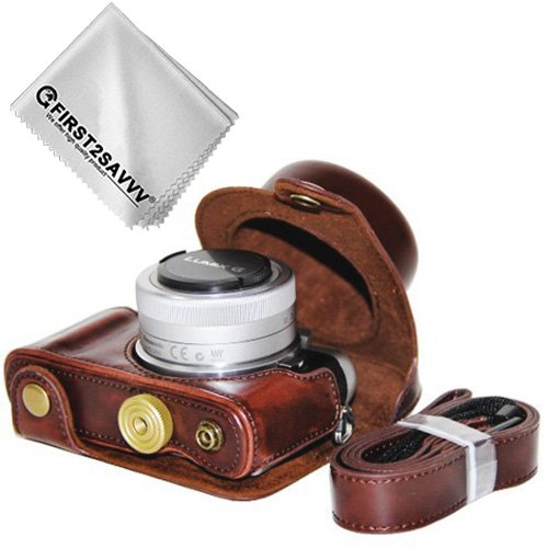 First2savvv marron oscuro Calidad premium Funda Cámara cuero de la PU cámara digital bolsa caso cubierta con correa para Panasonic Lumix DC-GF9.GF8,GF7,GX850.GX800 (12-32mm Lens) XJD-GF9-10G11