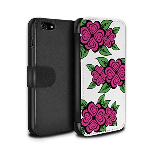 Stuff4 Coque/Etui/Housse Cuir PU Case/Cover pour Apple iPhone 7 / Rose/Jaune Design / Roses Coeur Amour Collection Blanc/Rose