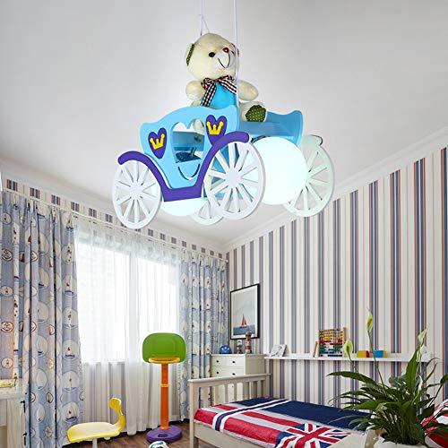 onleuchter Deckenleuchte, Blau/Rosa Massivholz LED Glas Lampenschirm Kreative Mädchen Jungen Studie Schlafzimmer Leuchten-blue ()
