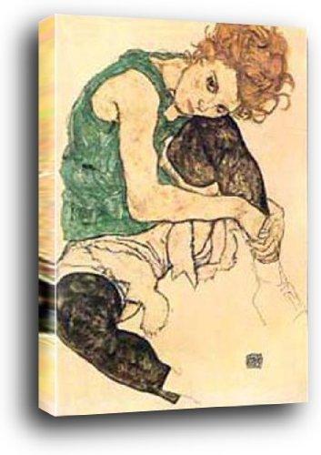 Egon Schiele Poster Kunstdruck als Blockbild - Donna Seduta (90 x 60cm)