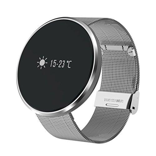 Fitness Tracker, Smart Uhr Bluetooth Health Tracker Sport Armband Armbanduhr mit Aktivitätstracker, Schrittzähler, Kalorienzähler, Schlaf-Monitor, Wecker IP67 Wasserdicht Low Power Consumption Smart Watch für iOS und Android Smartphone (Silber)