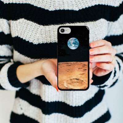 Apple iPhone X Silikon Hülle Case Schutzhülle Erde Mond Moon View Hard Case schwarz