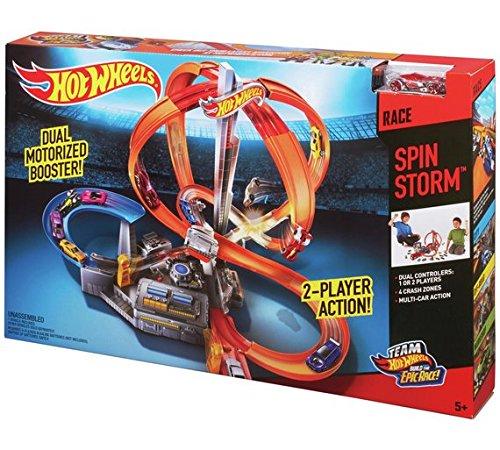 Hot Wheels Spin Storm Spiel-Set für Kinder mit 2 Ladezonen, fürs Aufstellen und Starten mehrerer Autos