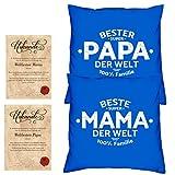 Soreso Design Hochzeitstag Geschenk für Mama und Papa -:- 2 Kissen mit Füllung plus 2 Urkunden im Set -:- Beste Mama der Welt in royal-blau - Bester Papa der Welt in royal-blau