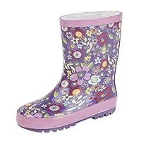 STORMWELLS Girls Childrens Kids Infants Purple Pink Floral Wellington Wellies Boots Size 4-13