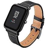 Zolimx Cuero Genuino Reloj Banda Pulsera Correas para Xiaomi Huami Amazfit Bip Youth Inteligente Watch (Negro)