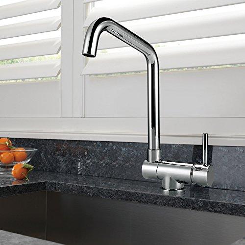 Homelody – Vorfenster-Küchenarmatur, 360° schwenkbar, hoher Auslauf, Chrom - 6