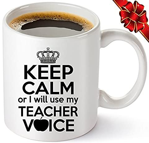 Teacher Coffee Mug 11oz - Funny Birthday / Christmas / Appreciation / Retirement Gifts For Teachers - Best Thank You Gift Ideas For Classroom. Surprise Your Favorite Math / English / Preschool / Spanish / Music / Drama Teacher - Keep Calm & Get This Hilarious Mug Today! by Muggies