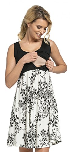 HAPPY MAMA Women's Maternity Nursing Layered Skater Dress Sleeveless. 685p