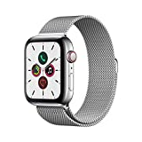 Apple Watch Series 5 (GPS + Cellular, 44 mm) Cassa in Acciaio Inossidabile e Loop in Maglia Milanese