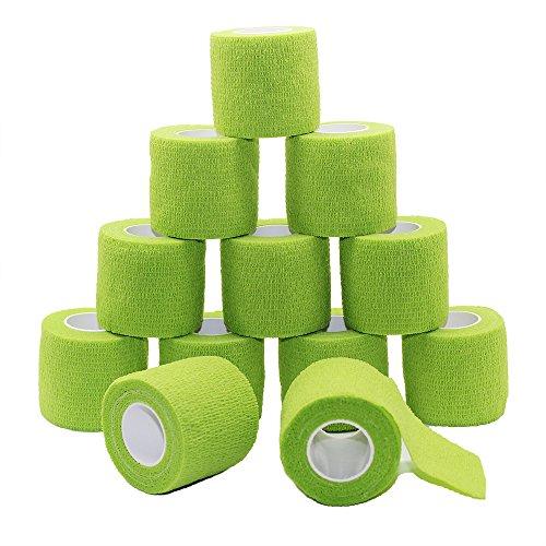 Fuluning,Vet Wrap,Goalkeeper Tape,Athletic Wrap,5cm Cohesive Bandages,Crepe Bandages,Flexible Bandage,Self Adhesive Bandage,Cohesive Bandages,Vet Wrap,5 cm x 4.5m,Olive Green