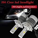 Fulgent 1 Set H4 Headlight Kit Bulbs COB Chip C6 36W 3800LM Car LED Headlight Bulb Replace for Halogen Or HID Bulbs C6-H4 for Chevrolet Optra Magnum