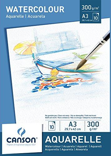 Canson Aquarellpapier A3, 300 g/m², 10 Blatt