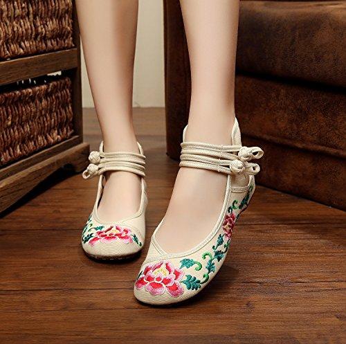 ZQ Gestickte Schuhe, Leinen, Sehnensohle, ethnischer Stil, weibliche Schuhe, Mode, bequem, Sandalen , beige , 38