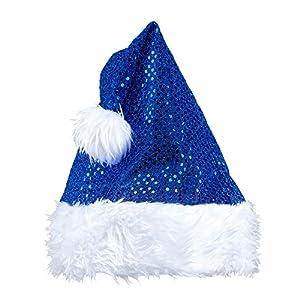 WIDMANN?Sombrero Papá Noel Navidad de lentejuelas Unisex-Adult, Azul, talla única, vd-wdm03859