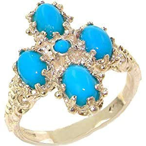 Luxury 9ct White Gold Turquoise Cluster Ring - Size J - Finger Sizes J to Z Available
