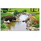 Wallario Herdabdeckplatte / Spritzschutz aus Glas, 3-teilig, 90x52cm, für Ceran- und Induktionsherde, Blumen am Teich