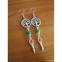 Tree of life earrings, Mother Goddess earrings, jade earrings, celtic pagan handmade