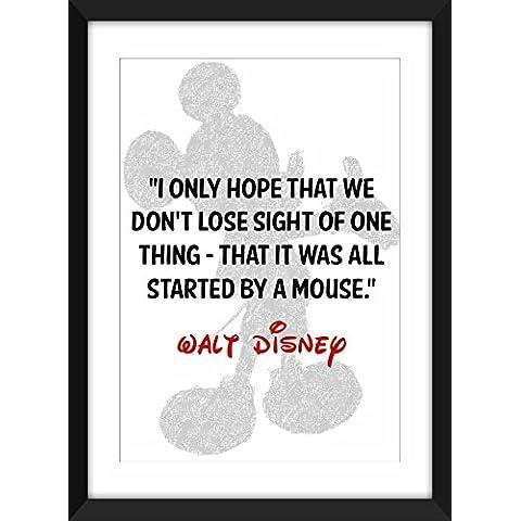 Cita de Walt Disney Mickey Mouse A4 / A3 / A5 / 5 x 7/8 x 10 Idea de impresión / regalo para niños / Ideal para dormitorio de niño
