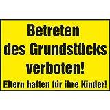 Verbotsschild Betreten des Grundstücks verboten! Eltern haften für ihre Kinder! | 300x200 mm | gelb/schwarz | 1 Stück