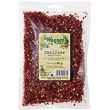 Wagner Gewürze Chillies geschrotet scharfe Chiliflocken als Gewürz für Chili con Carne, Saucen & Fleisch, Chilli für die Mühle, getrocknet, Menge: 2 x 100 g