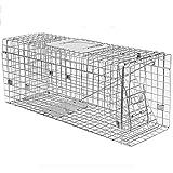 JB-BSQ Cattura Gabbia Pieghevole Singola Trappola Animale Vivo Trappola Umana Automatica, Cattura Gatto/Topo, Argento, Multi-Size (Dimensioni : 63x20x25cm)