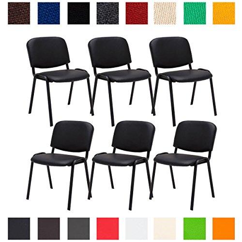 CLP 6X Konferenzstuhl Ken mit Stoffbezug oder Kunstlederbezug I 6 x Stapelstuhl mit Robustem...