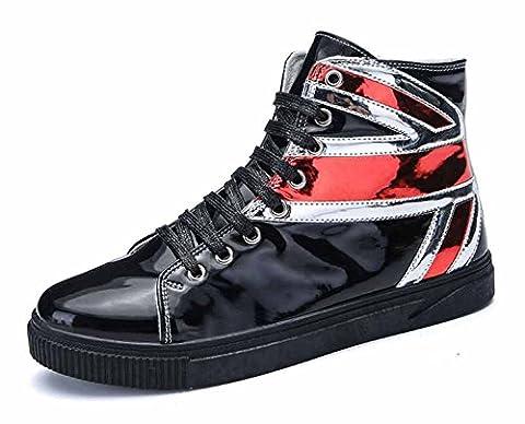 Hommes Poids Léger Formateurs 2017 L'automne Nouveau Hi-Top Sneakers Mode Décontractée Chaussures Plates ( Color : Black , Size : 39 )