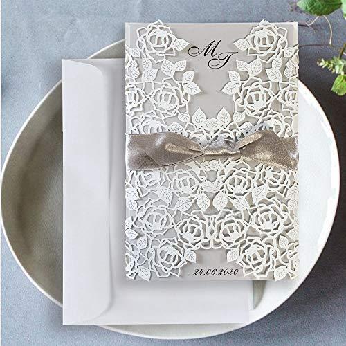 Kartenzia Lasergeschnittene Hochzeitseinladung Vintage Set (10 Stück) DIY Einladungskarten Hochzeit Geburtstag Taufe mit Umschlag zum Selber Drucken Gestalten