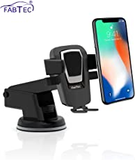 Fabtec Car Mobile Holder Mobile Stand Windshield Dashboard Mount Cradle for All Mobile 360° Degree Adjustable (Black Silver)