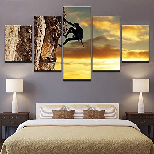 UDPBH 5 Panel Leinwand Hd Drucke Malerei Wandkunst Spiele Übung Klettern Poster Sonnenuntergang Landschaft Bilder Wohnkultur