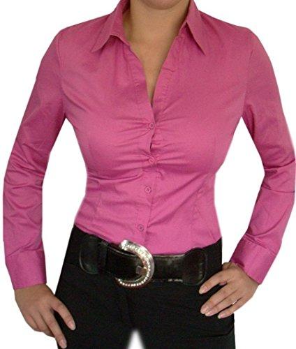 Schicke Blusenbody,Damen Bluse,V-Ausschnitt Bodybluse,Schwarz,Weiß,Pink,Grün od.Blau Pink
