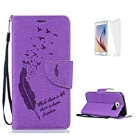 Samsung Galaxy S6 Edge Case [with Free Screen Protector],CaseHome Elegant [Birds Feather] Pattern Design Premium Embossed PU Leather Flip Wallet Case with Card Holder Slots and Wrist Strap Book Style Folio Magnetic Closure Stand Feature Inner Silicone Rubber Bumper Shockproof Full Body Protective Co
