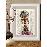Kunstdrucke, Giraffe,Giraffendruck, Dame auf Antike Buchseite, #GI01