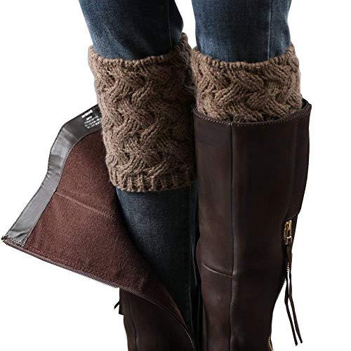 LADES DIRERCT Damen Stulpen Socken - Winter Kurze Stricken Stulpen Gestrickte Beinwärmer Leg Warmers Socken Stiefel Boot Abdeckung (Khaki)