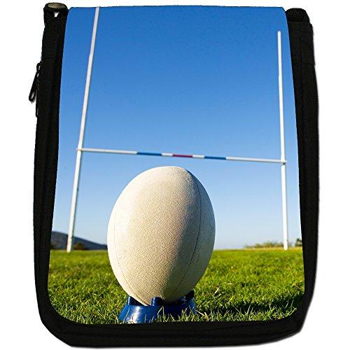 Kit di palla da rugby Coppa del Mondo di squadra Medium Nero Borsa In Tela, taglia M Ball Ready For Penalty Kick